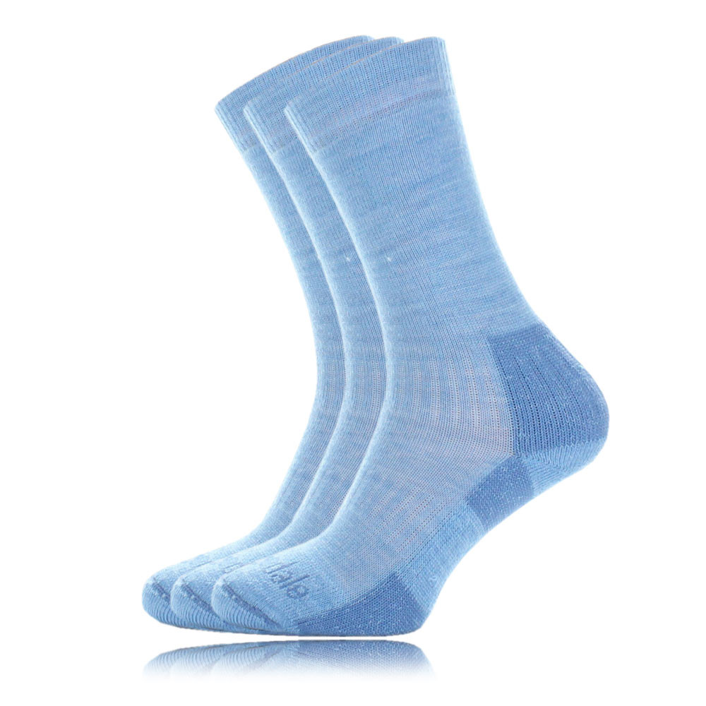 Bridgedale Merino Crew Mens Blue Warm Ankle Outdoors Hiking Socks 3 Pack