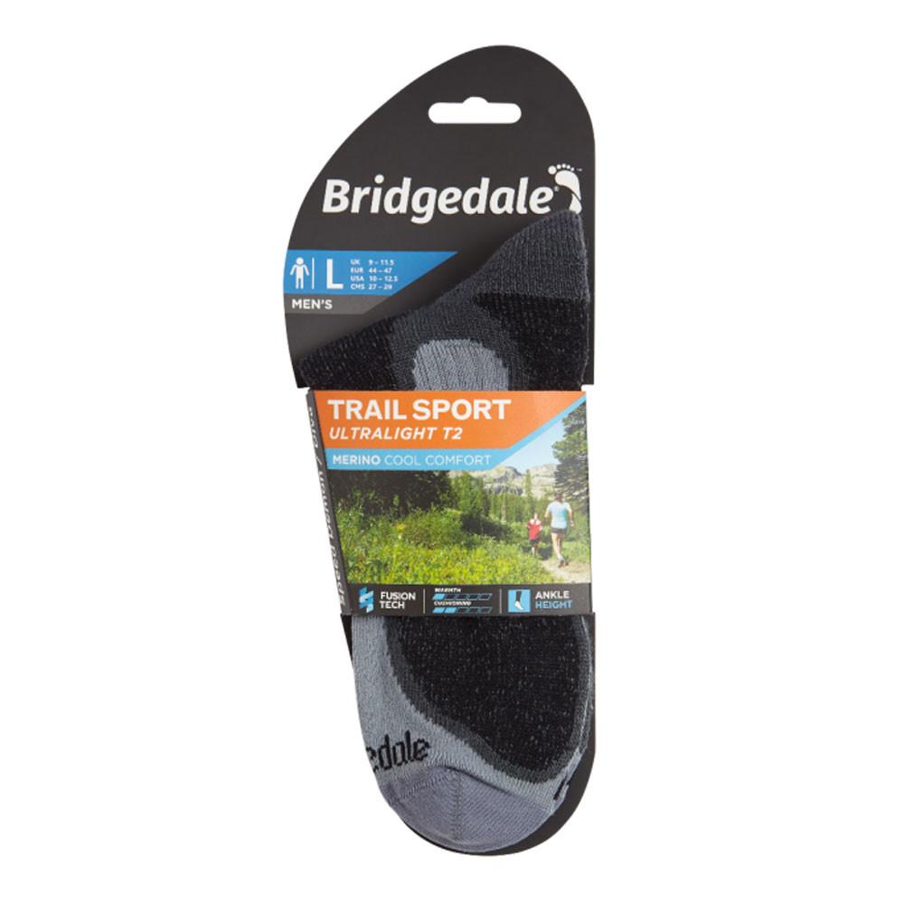 Bridgedale Mens TRAIL Socks Ultra Light T2 Merino Cool Comfort Black Grey Sports