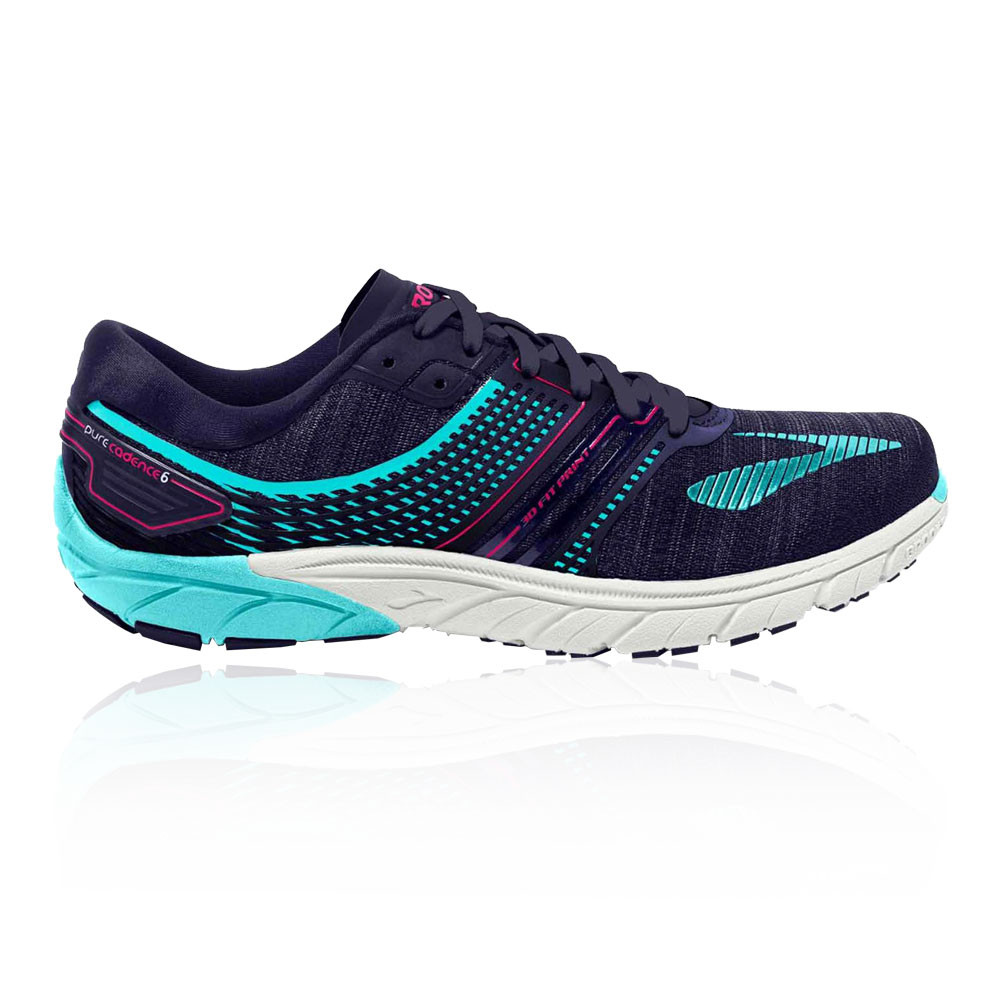 3c32b817fd1cc Details about Brooks Womens PureCadence 6 Running Shoe Navy Blue Purple  Breathable Trainers