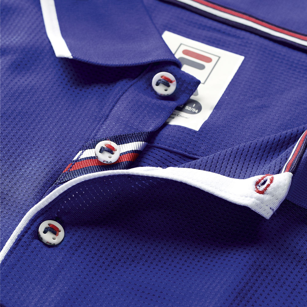 Detalles de Fila Hombre Mesh Tenis Polo Camisa Azul Deporte Transpirable Peso Ligero