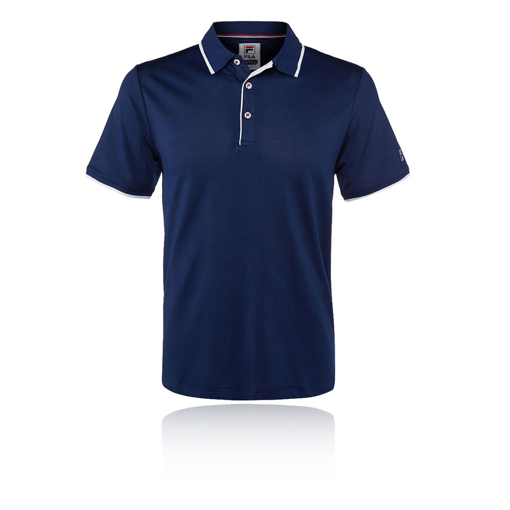 Details about Fila Mens Mesh Tennis Polo Shirt Navy Blue Sports Breathable  Lightweight