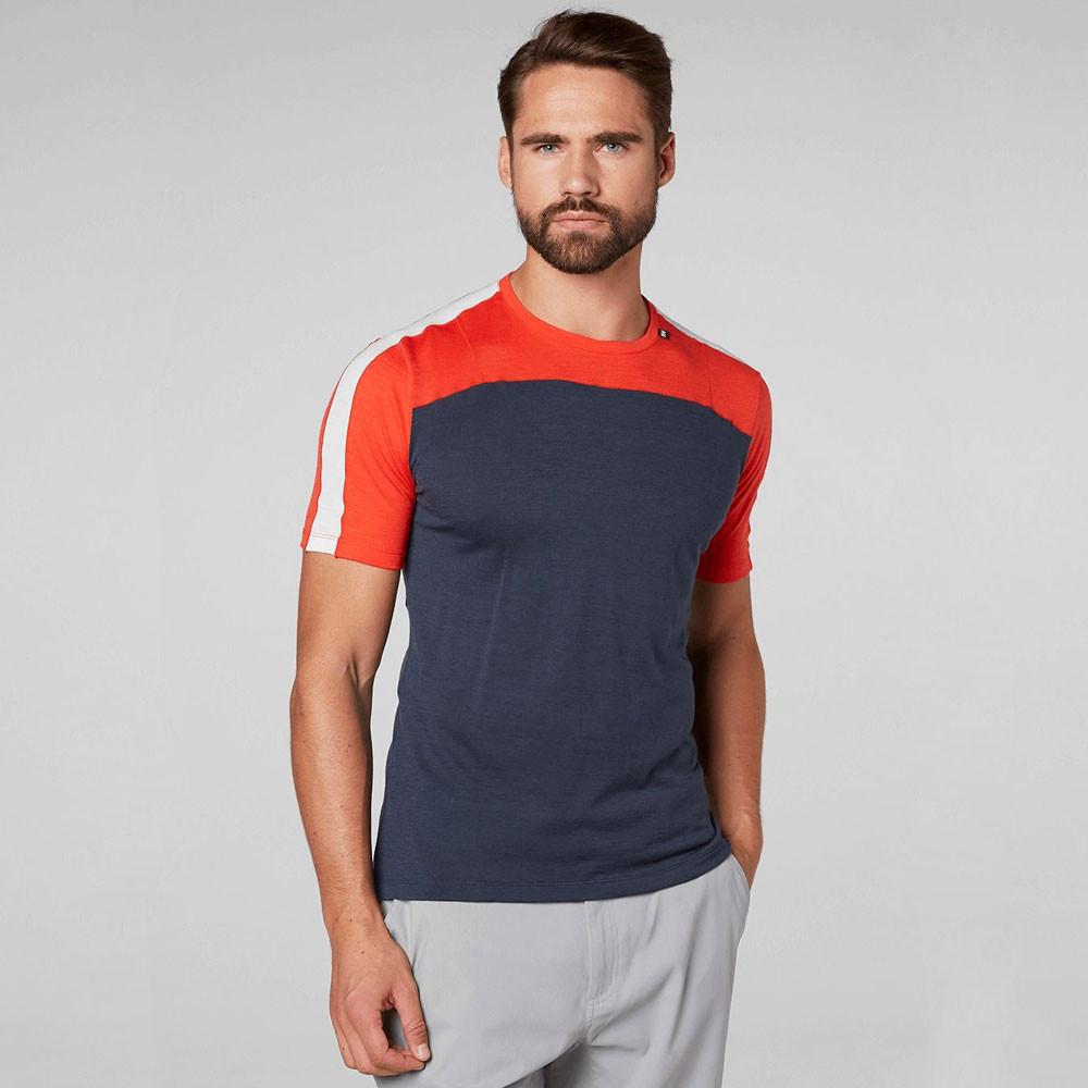 8fe1e234 Helly Hansen Mens HH Merino Light Baselayer T Shirt Tee Top Navy Blue Red  Sports
