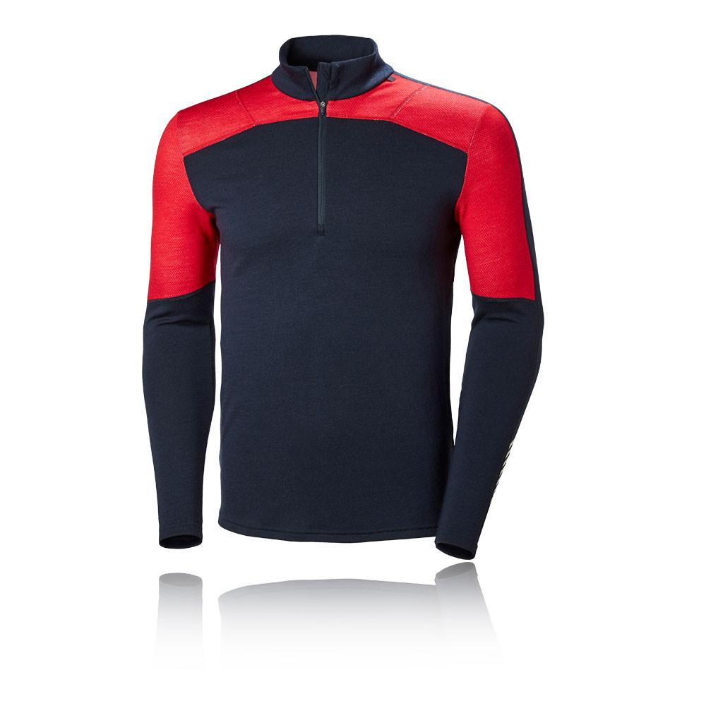 Helly Hansen Herren HH Lifa Merino Sweatshirt Zip Top Marineblau Rot Outdoor