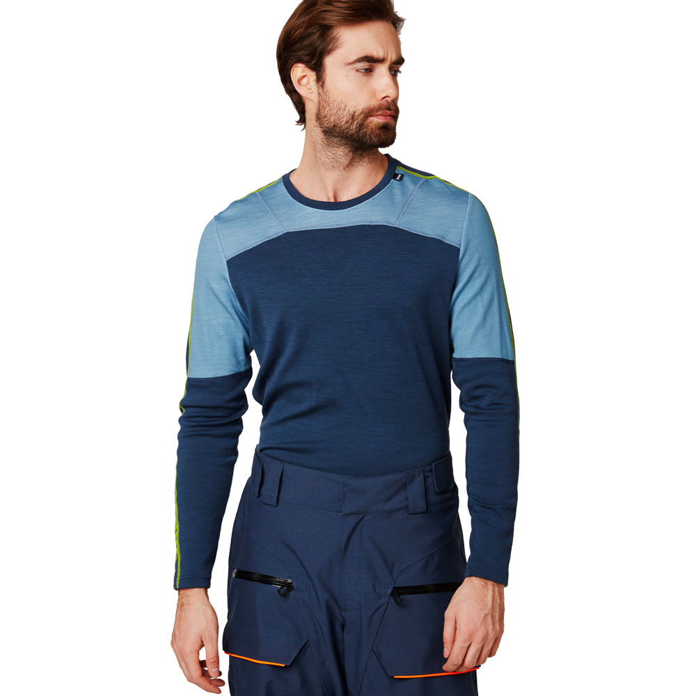 Helly Hansen HH Lifa Merino Mens Blue Long Sleeve Crew Neck Sports Top