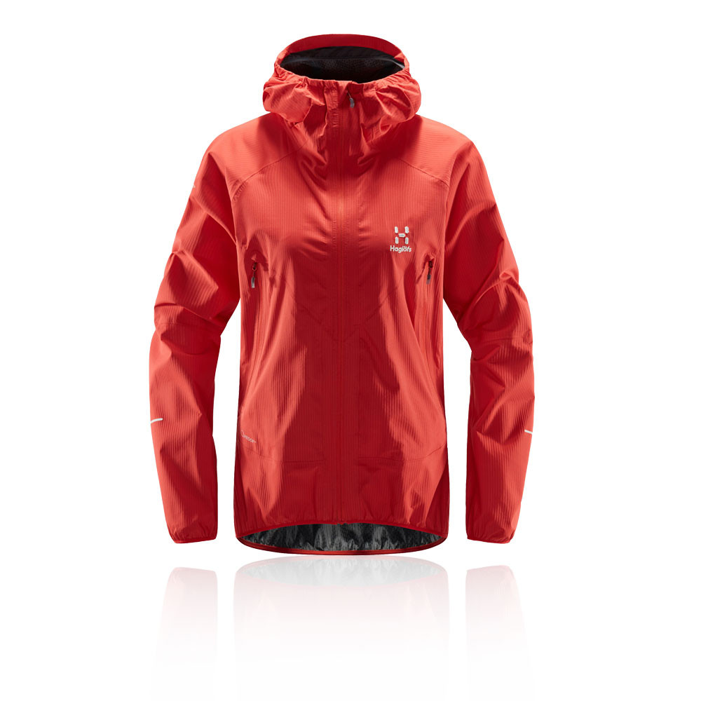 Haglofs Mens L.I.M Proof Jacket Top Red Sports Full Zip Hooded Waterproof