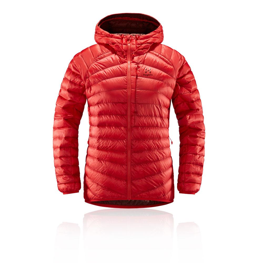 Details zu Haglofs Damen Essens Daunenjacke Kapuzenjacke Jacke Winterjacke Sport Top Rot