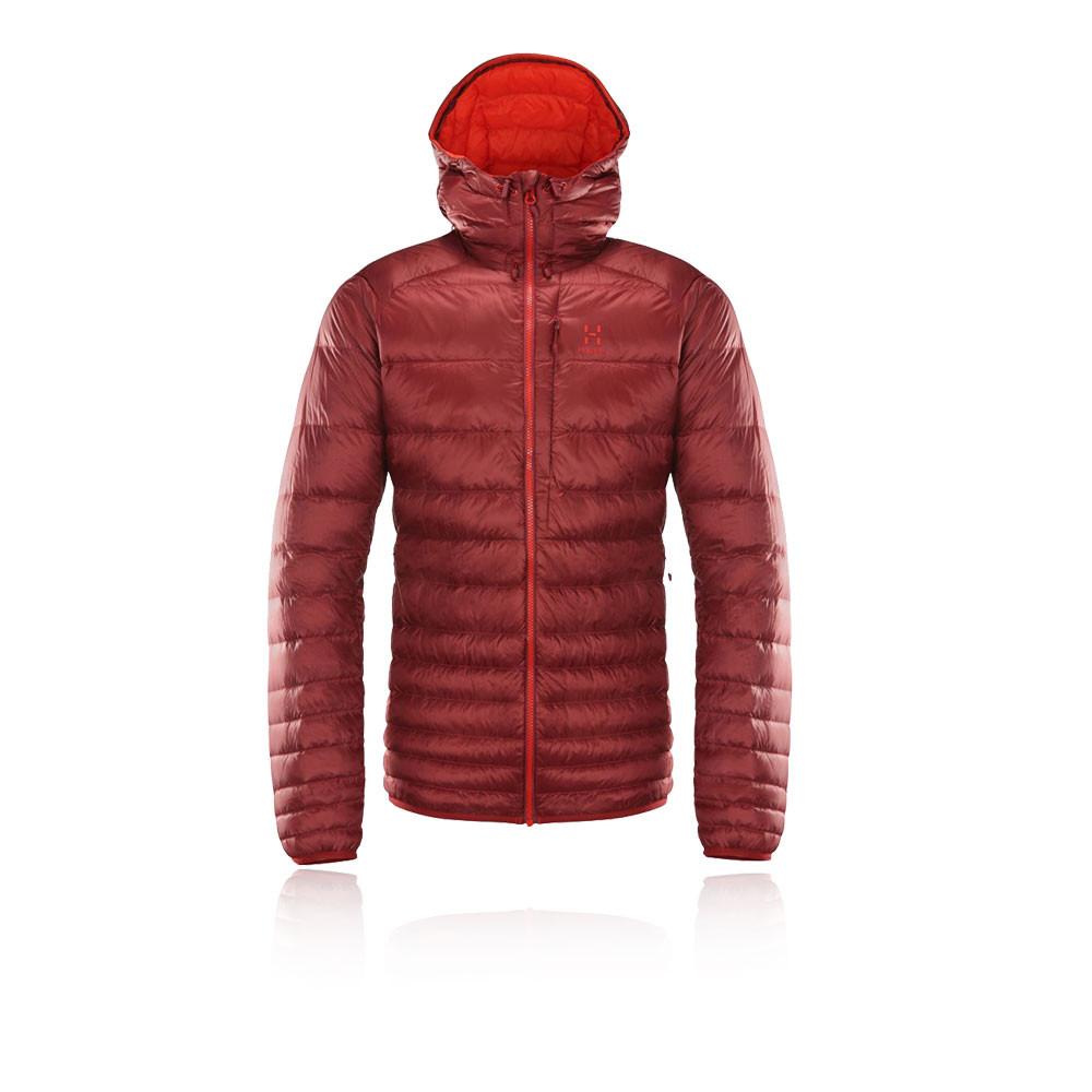 Dettagli su Haglofs Uomo Essens Piumino Giacca Con Cappuccio Rosso Sport Outdoor Calda Zip