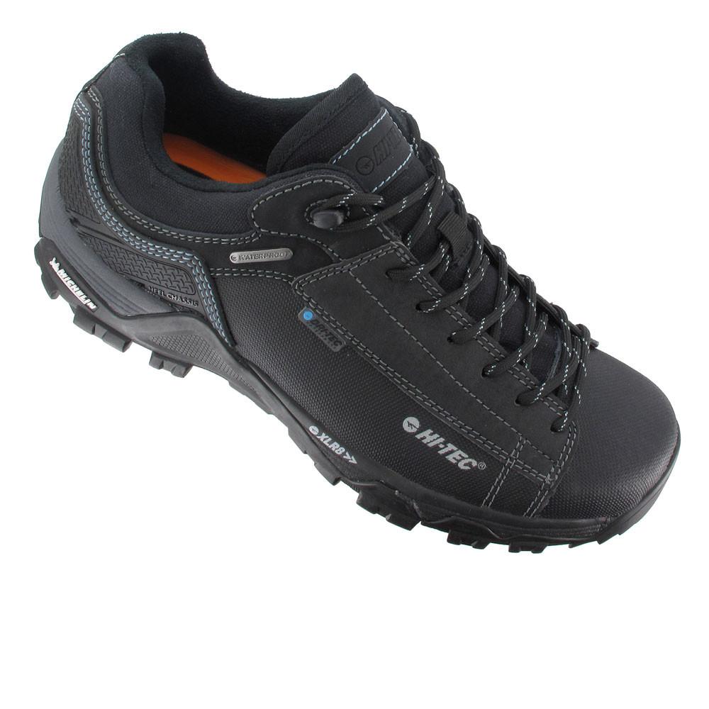 Mens Black Leather Waterproof Walking Shoes