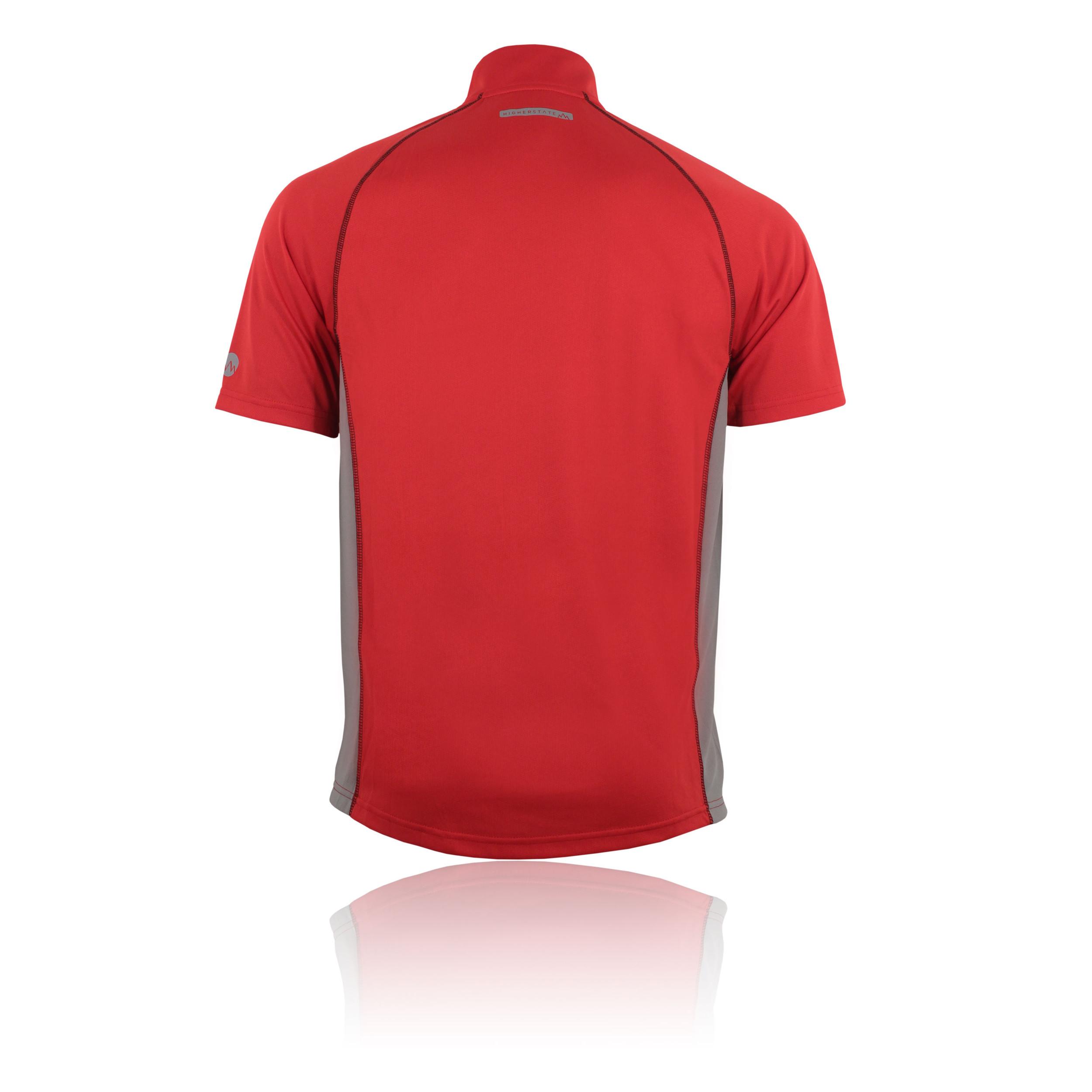 Higher State Mens Red Half Zip Short Sleeve Lightweight Running Sports T Shirt