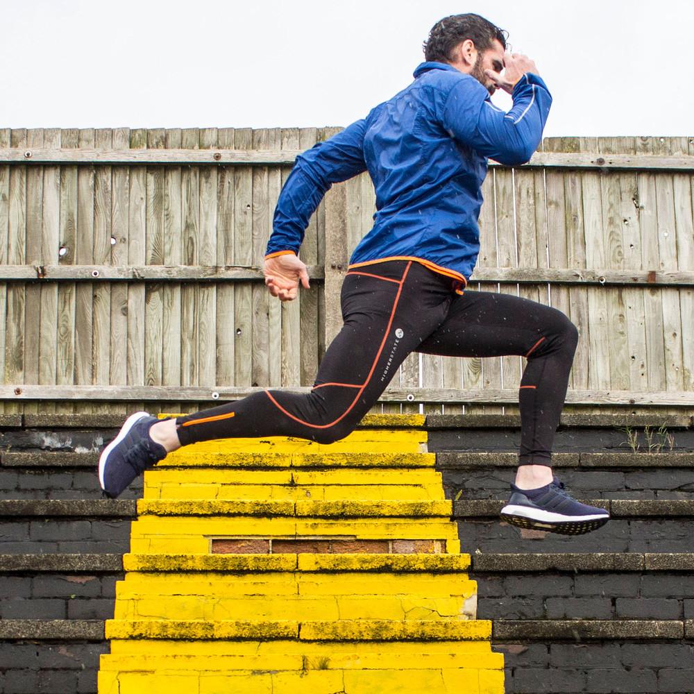 Higherstate Lightweight Mens Orange Blue Running Sports Zip Jacket Top