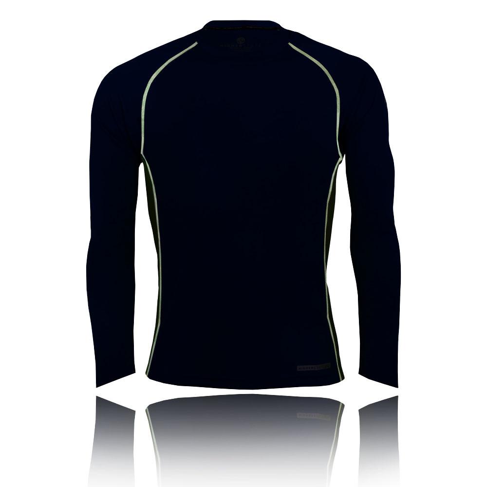 Higherstate-Hombre-Negro-Cuello-Redondo-Manga-Larga-Running-Gimnasio-Deporte-Top