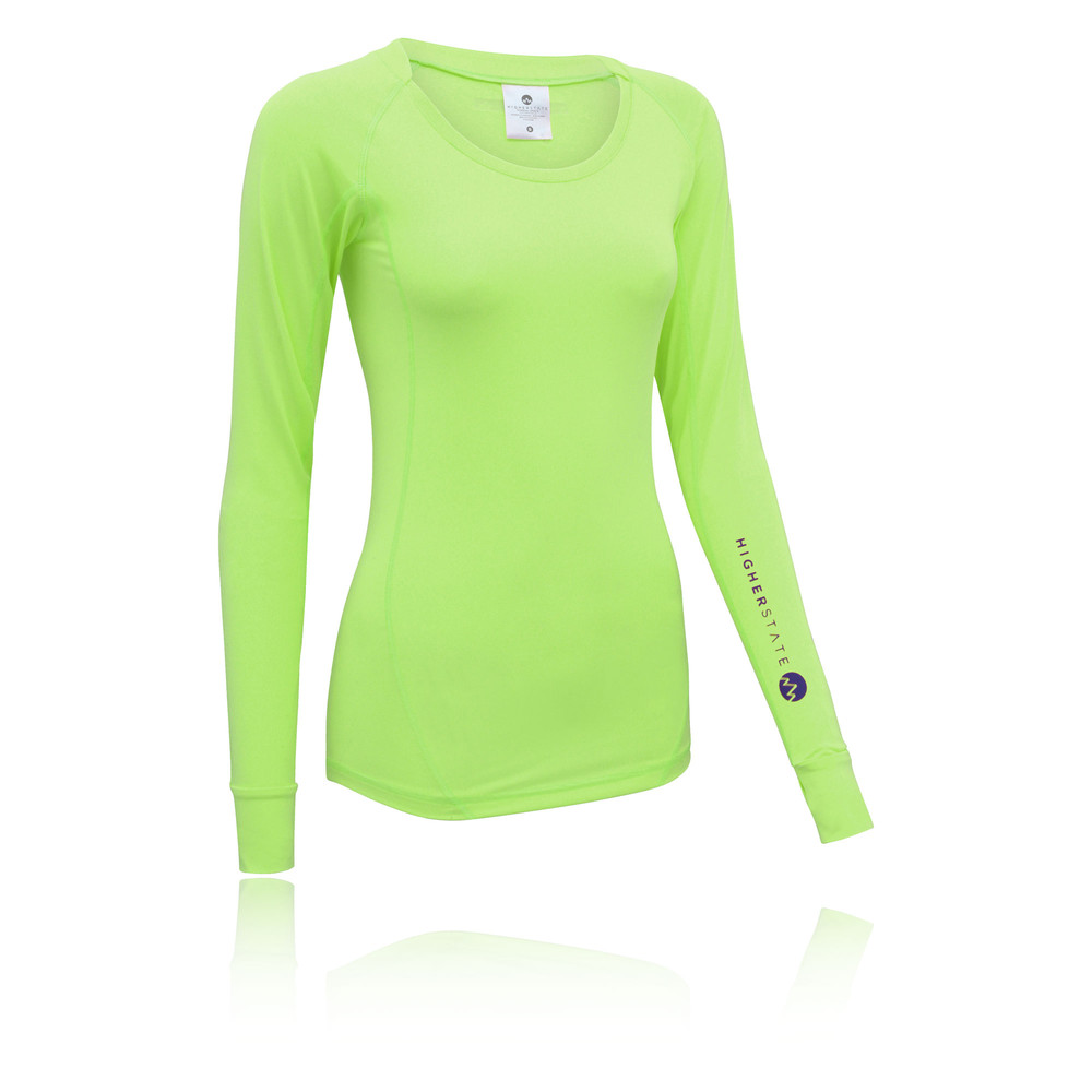 09d92064fcaa9 Higher State Womens Yellow Long Sleeve Crew Neck Training Running Sports Top