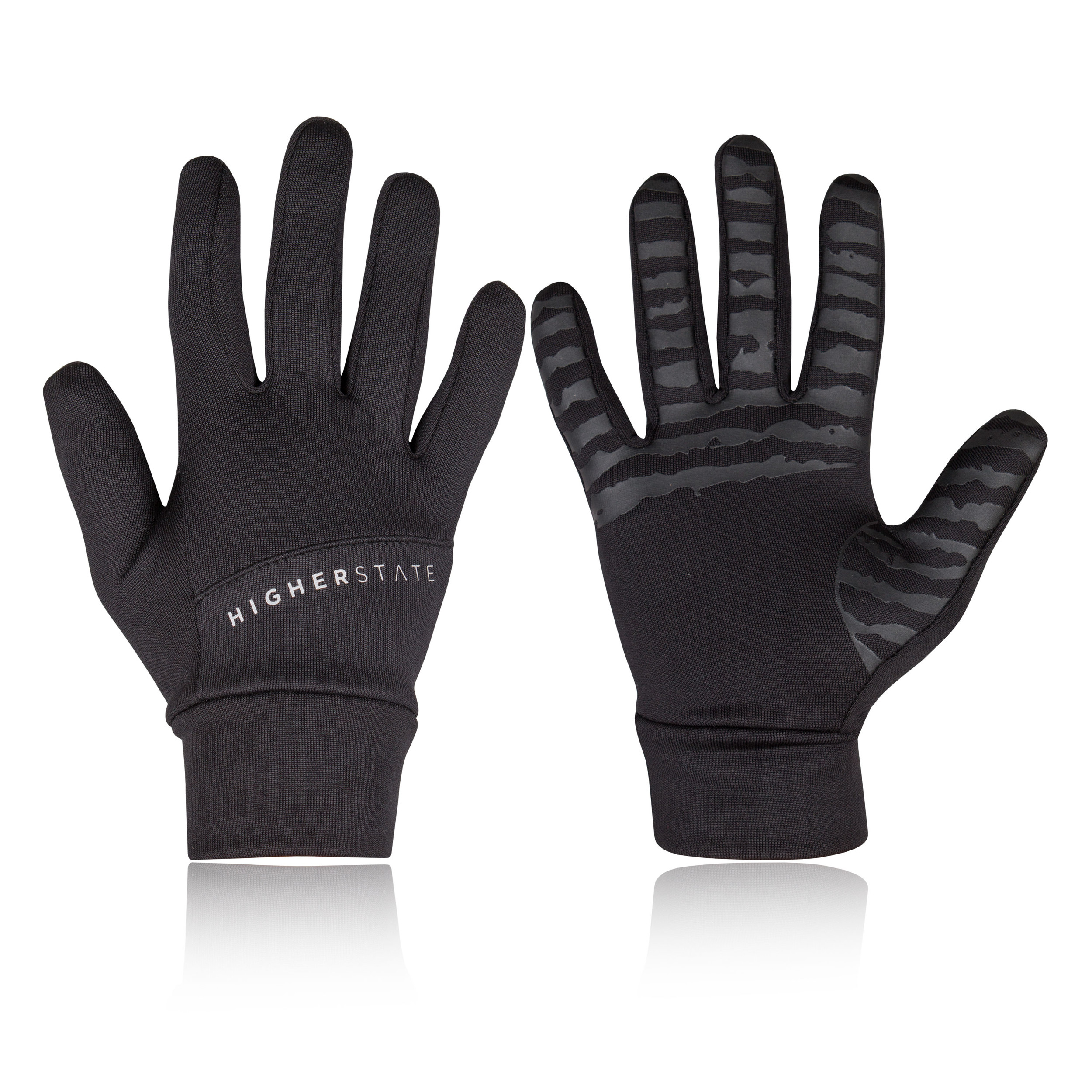 LIFE Men Ladies light weight reflective Running gloves mid season Black /& Hi-VIZ