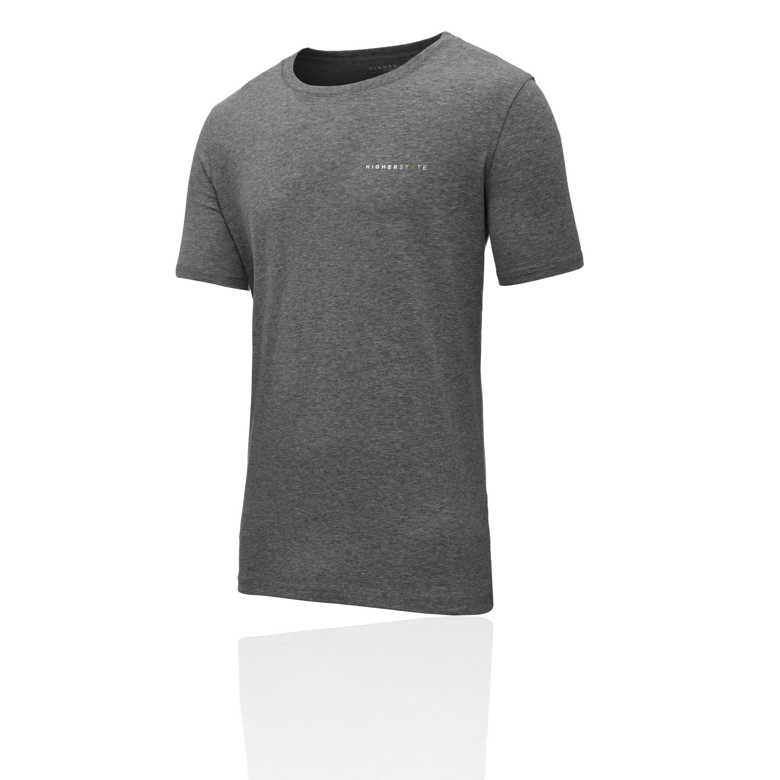 Détails sur Higher State Hommes Manche Courte Entraînement Gym T Shirt Gris Tee Sport