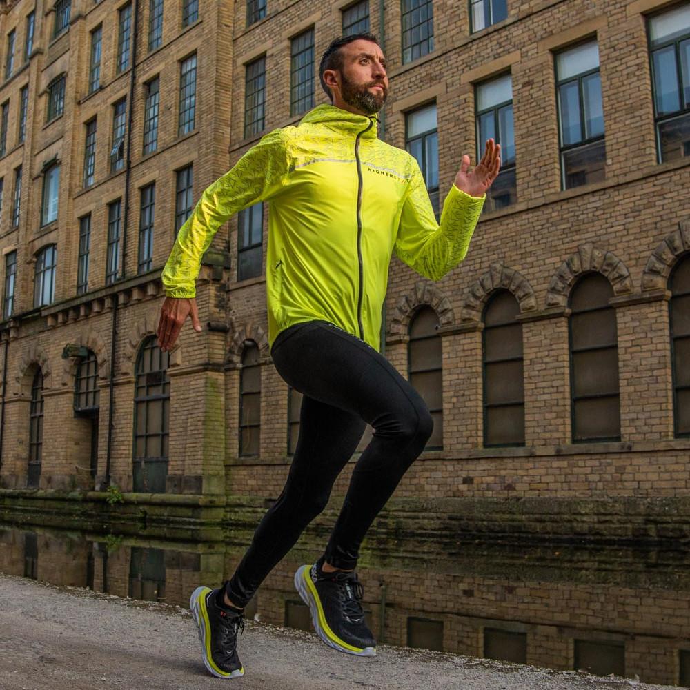 Higher State Mens Green Long Sleeve Full Zip Running Sports Jacket Top