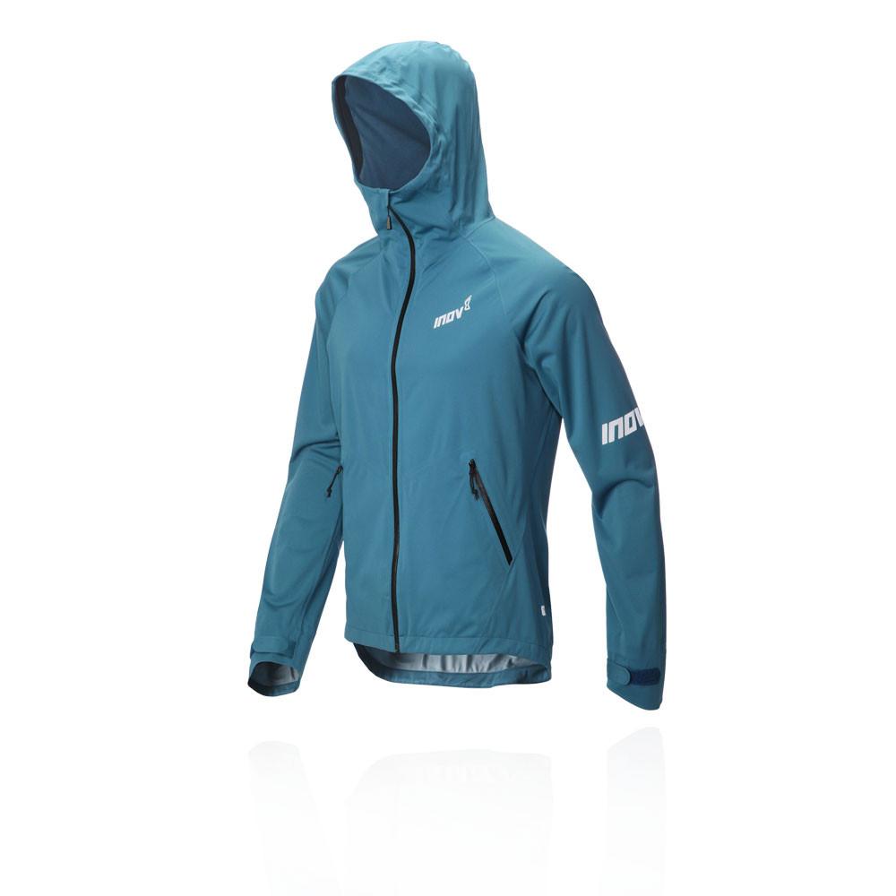 Inov8 Mens Raceshell Full Zip Running Jacket Top Blue Sports Hooded Waterproof