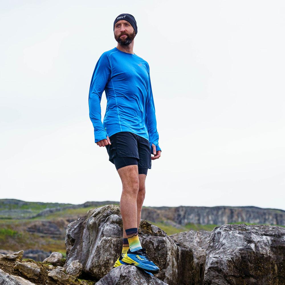 Inov 8 Homme Base Elite à Manches Longues Top-Bleu Sport Running Respirant