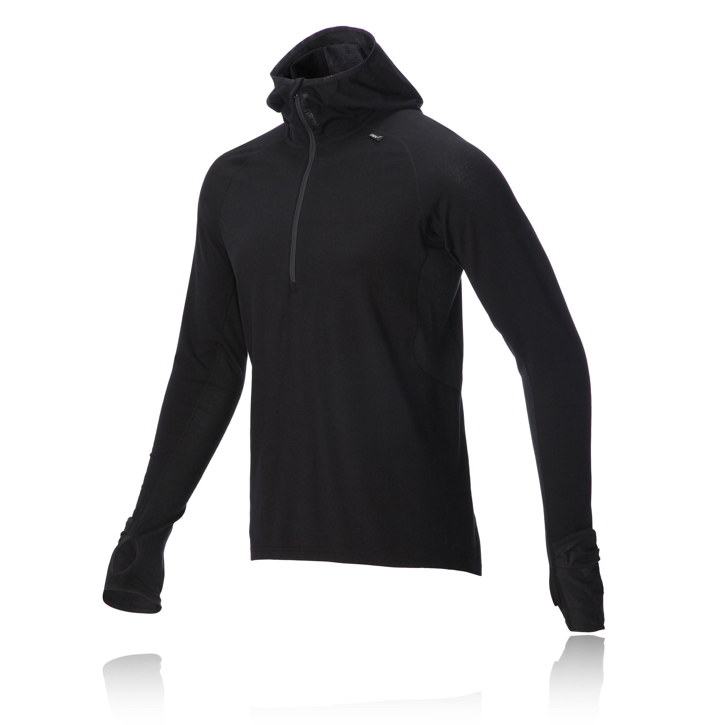 Inov8 Race Elite Merino Mens Black Long Sleeve Half Zip Hooded Running Top