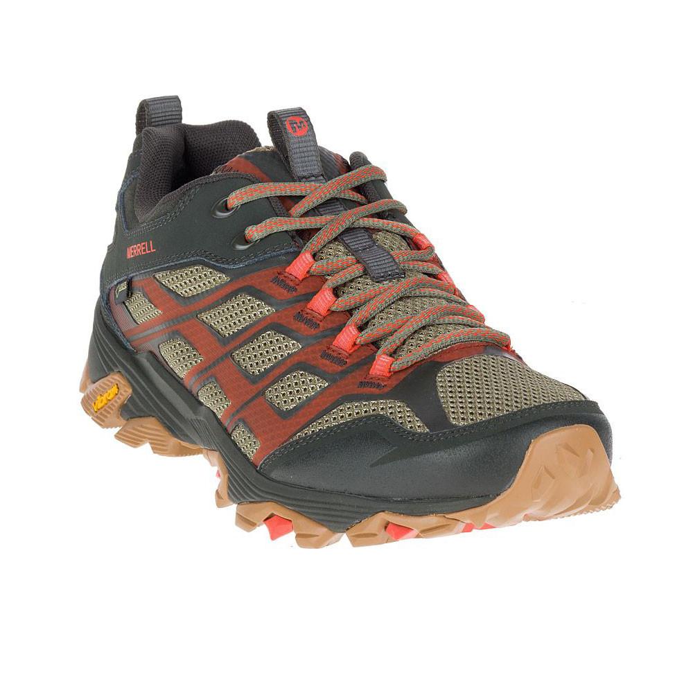 Merrell Mens Moab FST Gore-Tex Walking Shoes Brown Orange Beige Sport  Waterproof