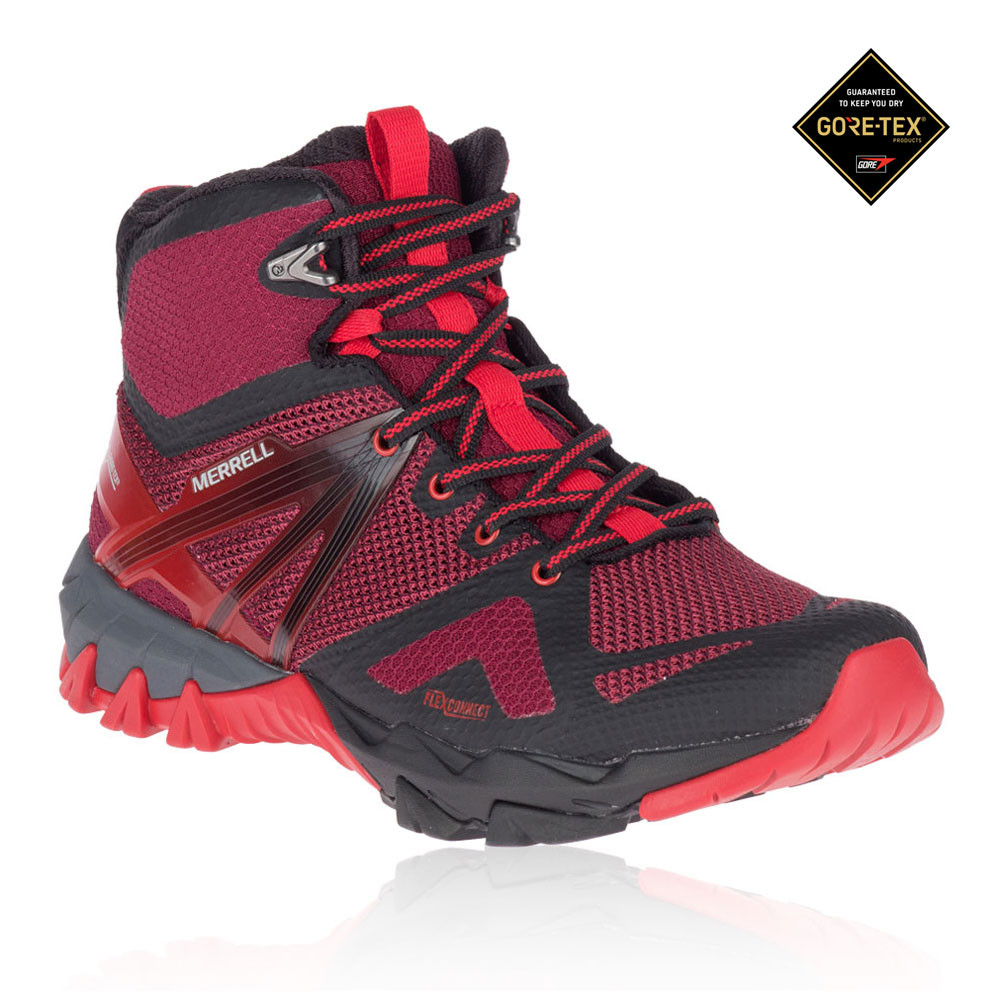 a1b7eafcb Details about Merrell Womens MQM Flex Mid GORE-TEX Walking Boots Black Pink  Red Sports