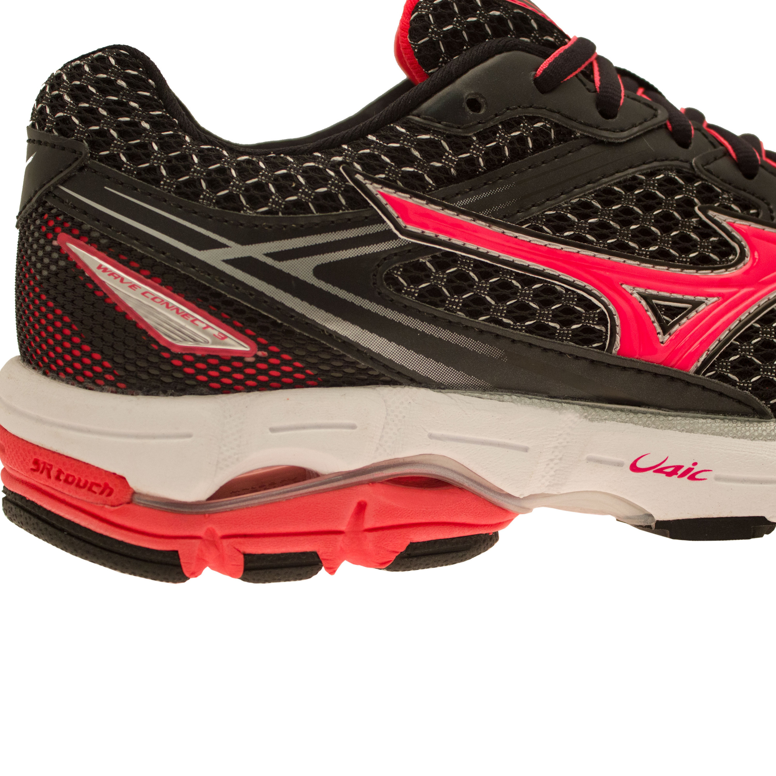 Mizuno Wave Connect 3 Womens Pink Black Support Running Shoes Trainers Pumps