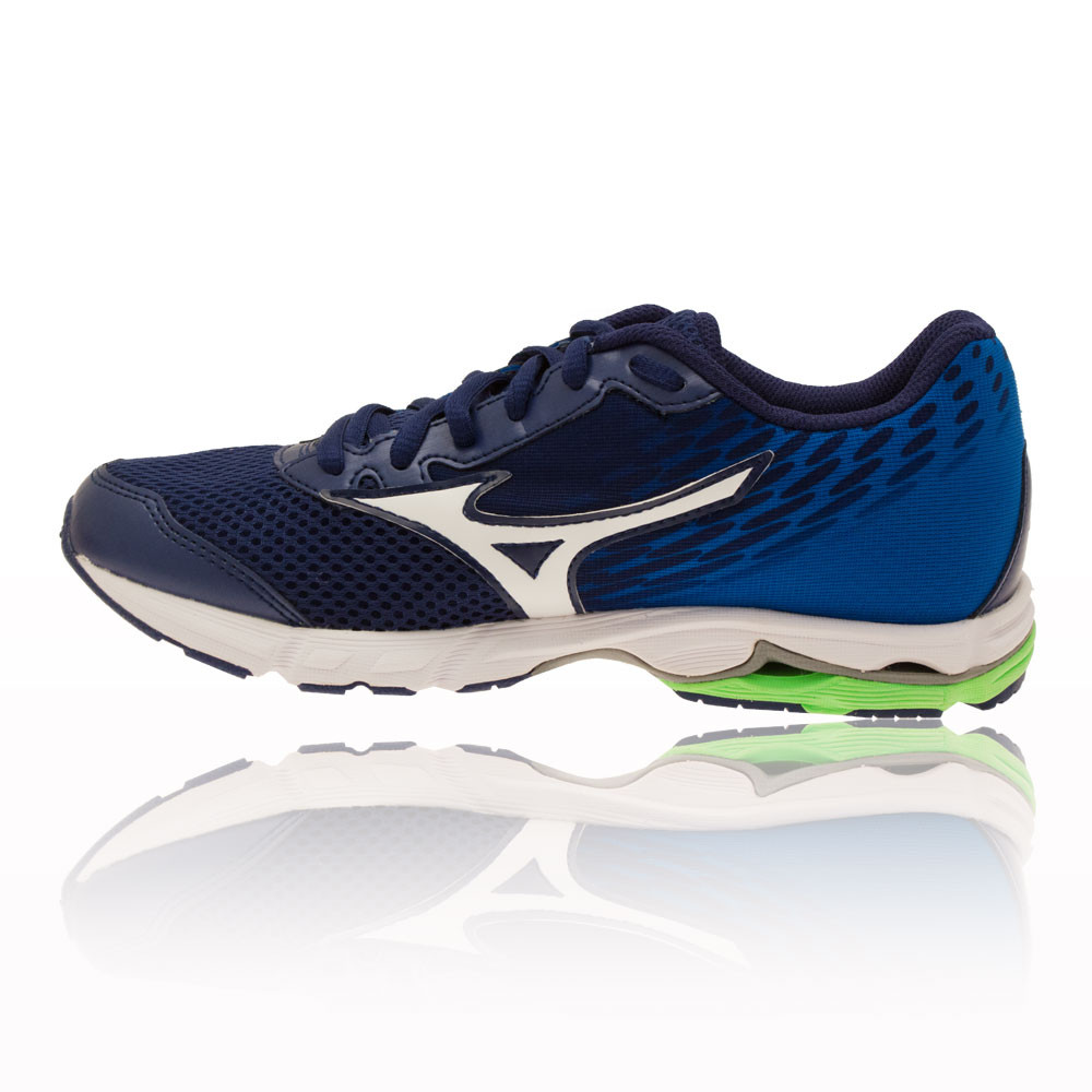 Mizuno Wave Rider 19 Junior Green Blue Running Road Sports Shoes Trainers