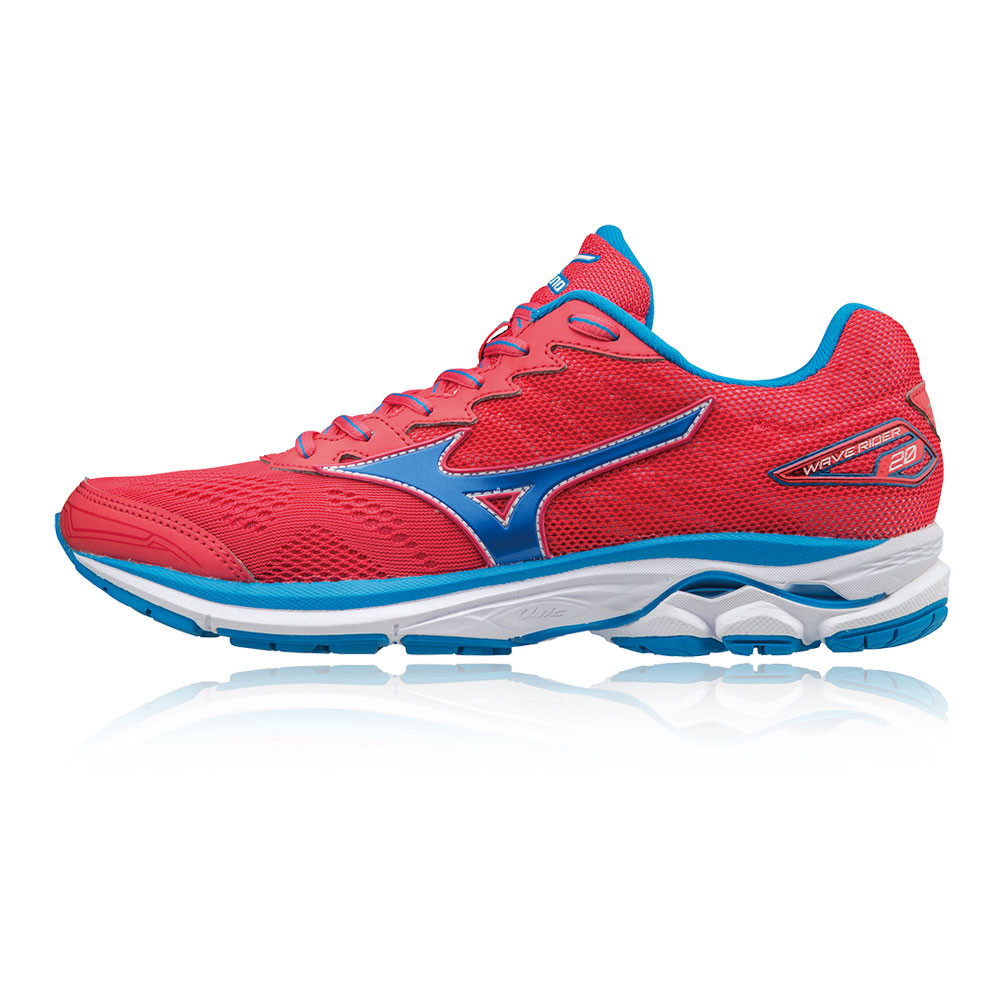 65f6ed20f4ce Mizuno Wave Rider 20 Womens Red Cushioned Running Sport Shoes Trainers Pumps