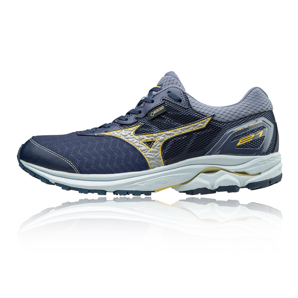 bfdc79f0a08 Details about Mizuno Mens Wave Rider 21 GTX Running Shoes Trainers Sneakers  Navy Blue Silver