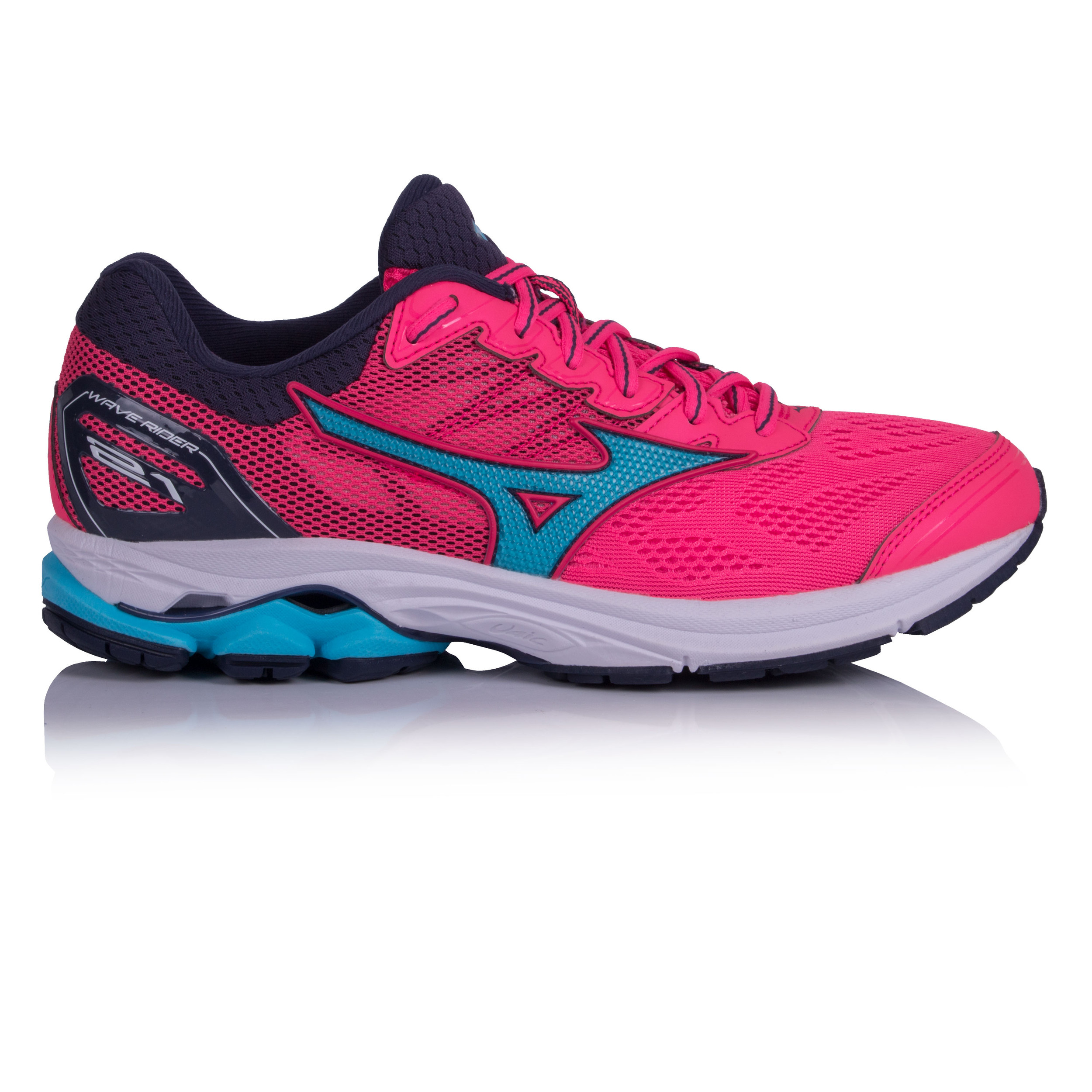 separation shoes 7087d 46d40 Details about Mizuno Womens Wave Rider 21 Running Shoes Trainers Sneakers  Pink Sports