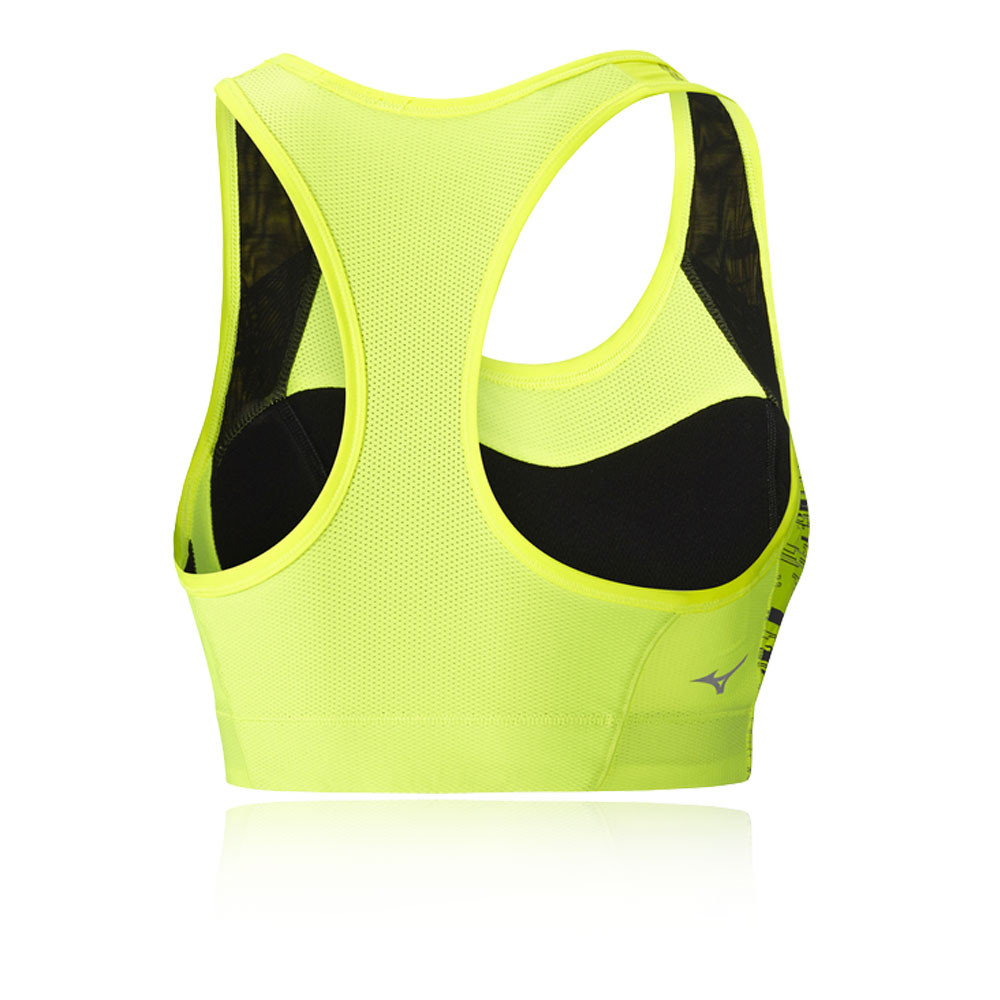 294806d3ea8d4 Mizuno Womens High Support Bra Yellow Sports Running Breathable Reflective