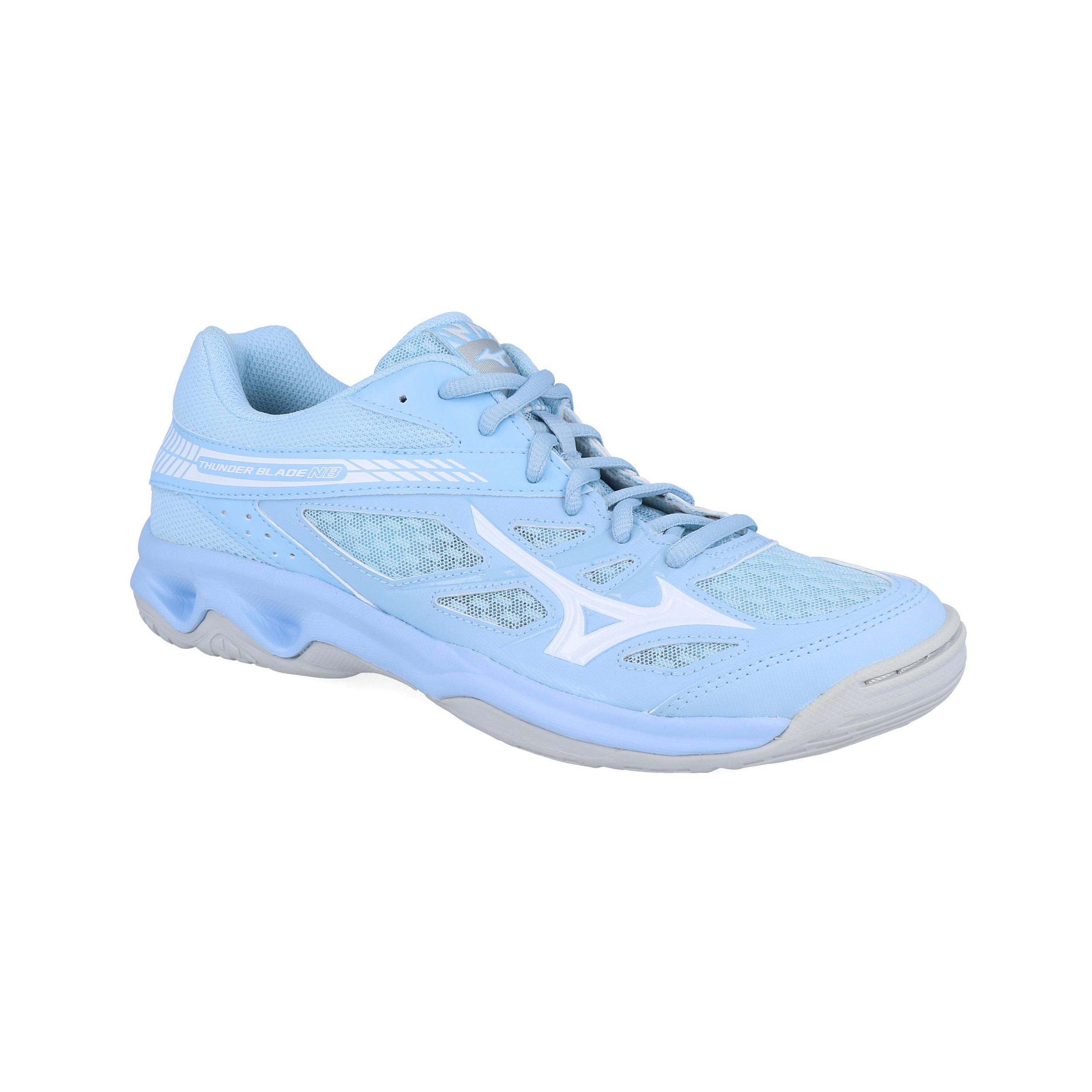 Détails sur Mizuno Femmes Thunder Blade Nb Chaussures De Sport En Salle Baskets Bleu