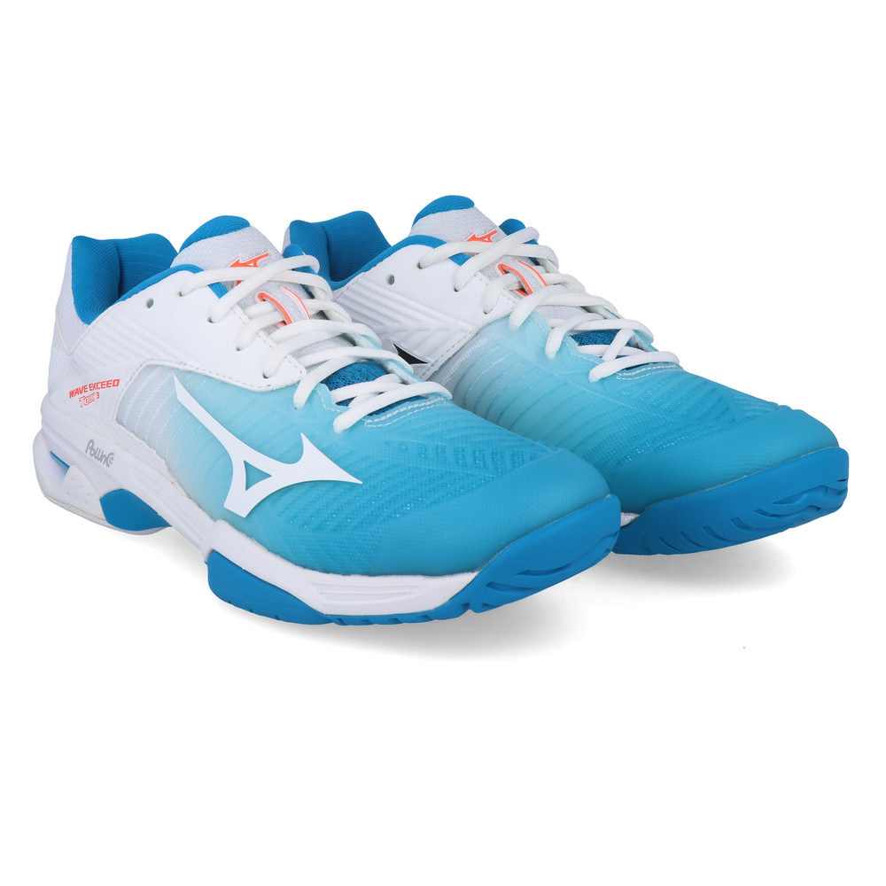 Mizuno Womens Wave Exceed Tour 3 All Court Tennis Shoes Blue White Sports