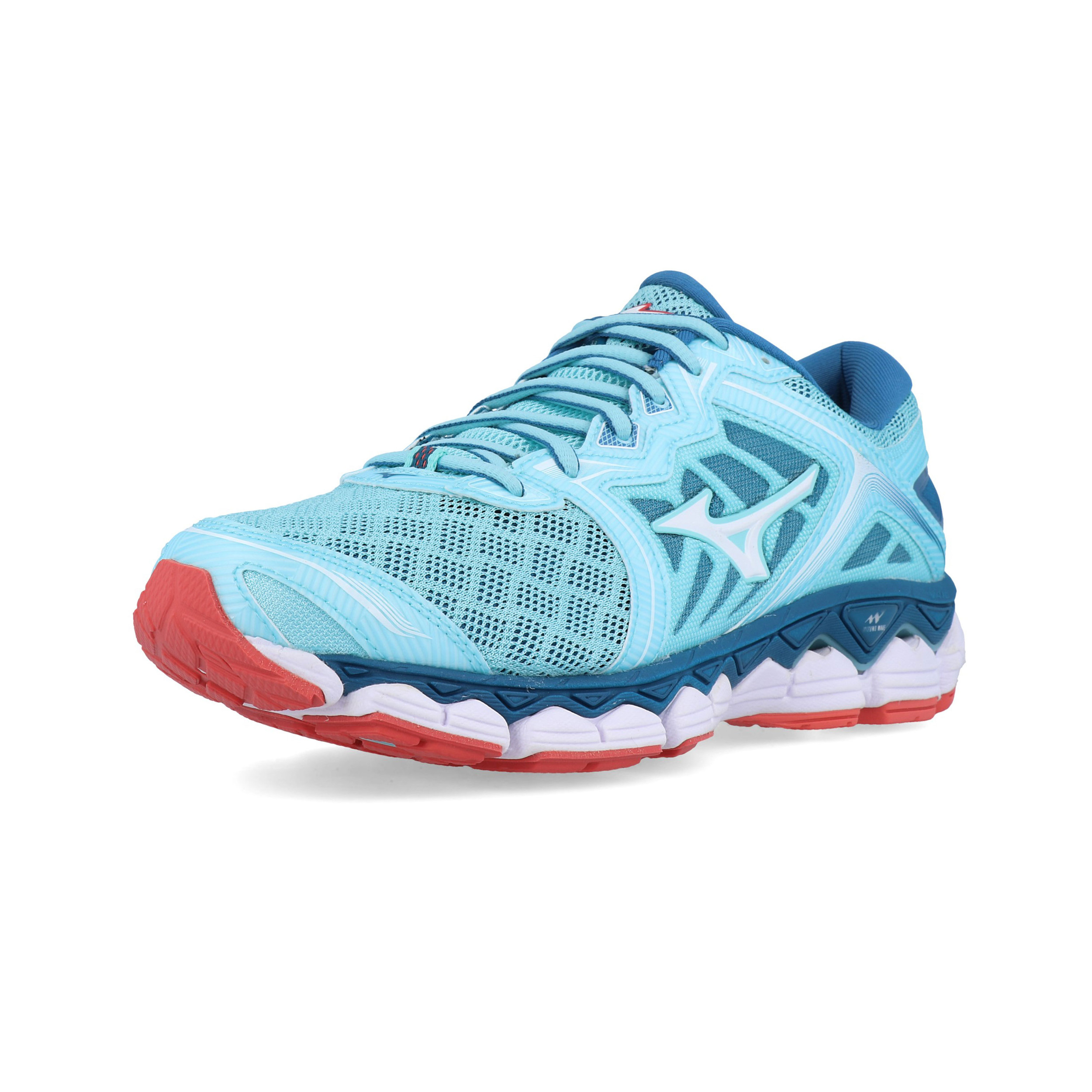 e11a0096782d Details about Mizuno Womens Wave Sky Running Shoe Blue Orange Sports  Breathable Lightweight