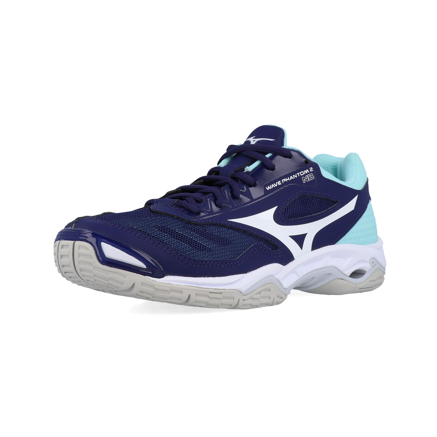 Détails sur Mizuno Femmes Wave Phantom 2 Chaussures De Sport En Salles Baskets Bleu