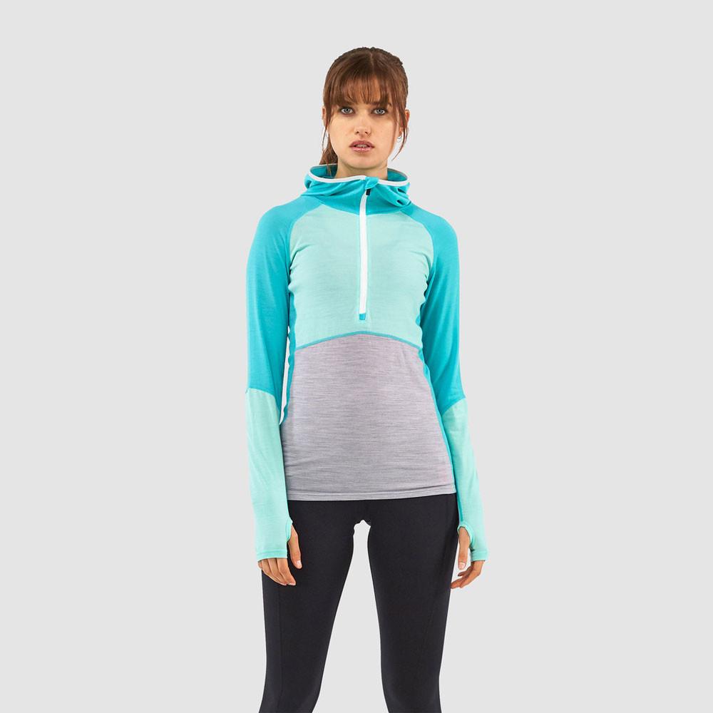 save off 49c35 8f709 Mons Royale Bella Tech per donna Half zip maglia con cappuccio