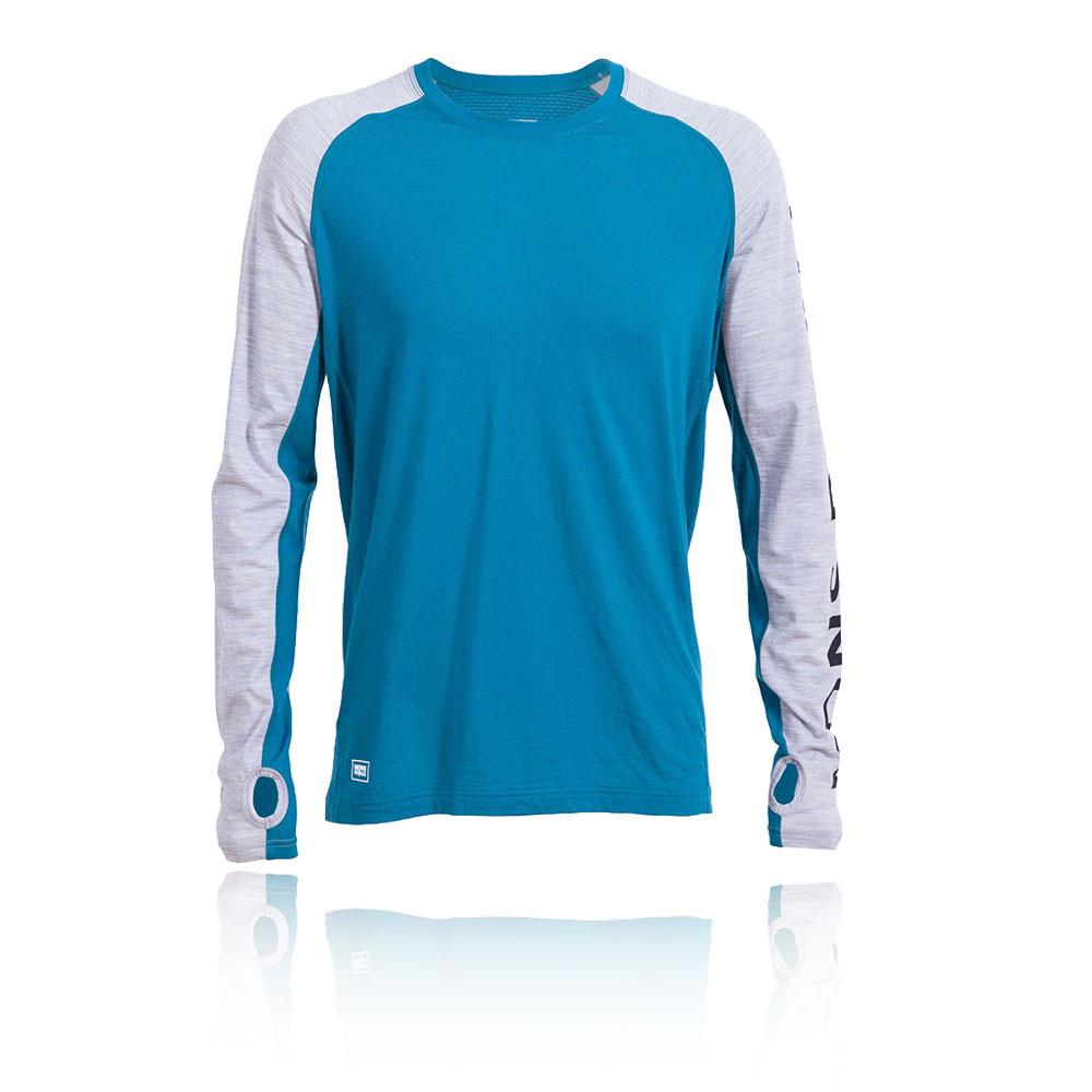 Mons Royale Herren Temple Tech Langarm Top Blau Grau Outdoor Trainingsshirt