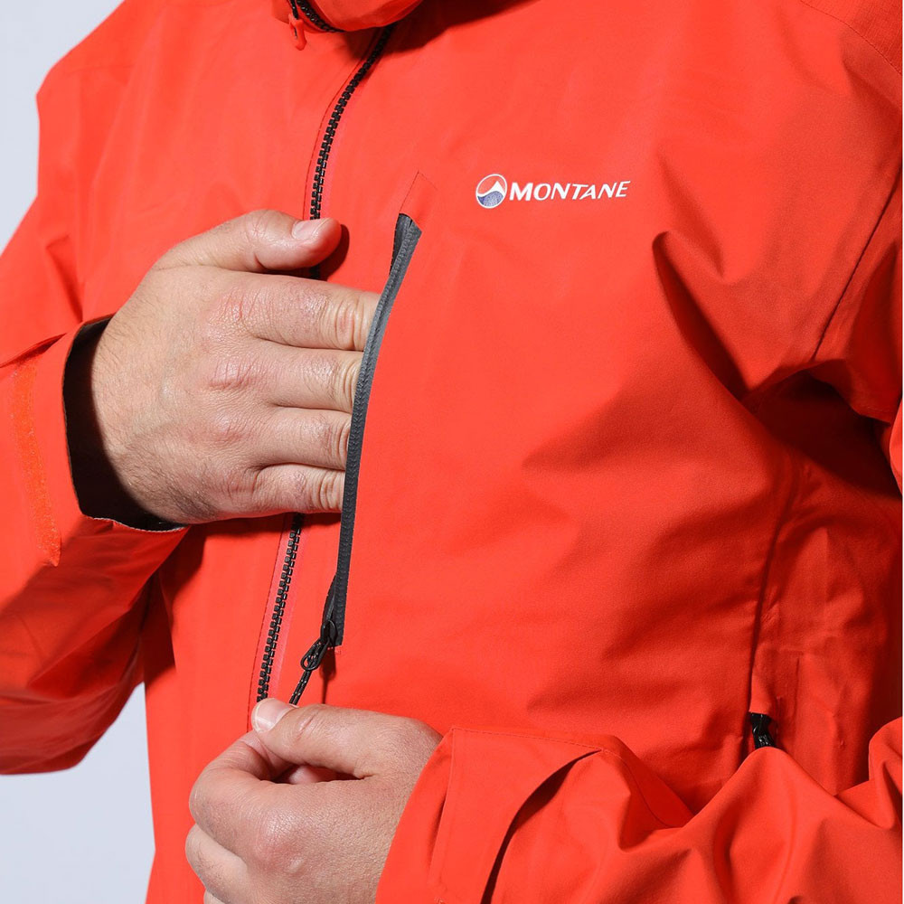 Details zu Montane Herren Fleet Jacke Outdoorjacke Top Orange Sport Outdoor Wandern Kapuze