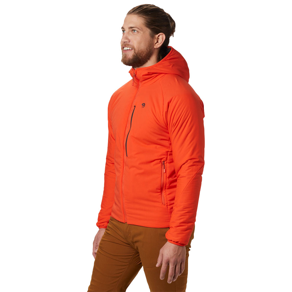 70ab9db06 Details about Mountain Hardwear Mens Kor Strata Hooded Jacket Top Orange  Sports Outdoors Full