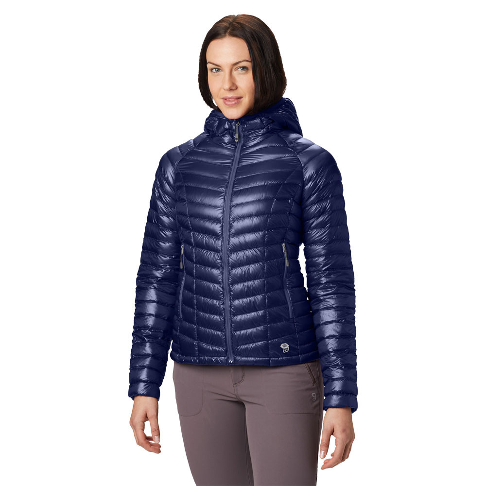 2d534e3809 Details about Mountain Hardwear Womens Ghost Whisperer Hooded Down Jacket  Top Navy Blue Sports