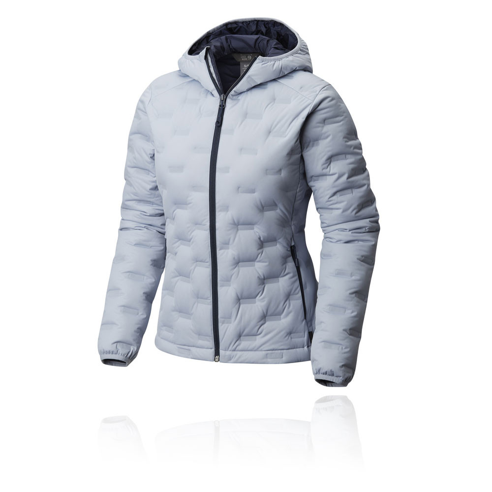 4bbc79172b Details about Mountain Hardwear Womens StretchDown DS Hooded Jacket Top  Blue Sports Outdoors