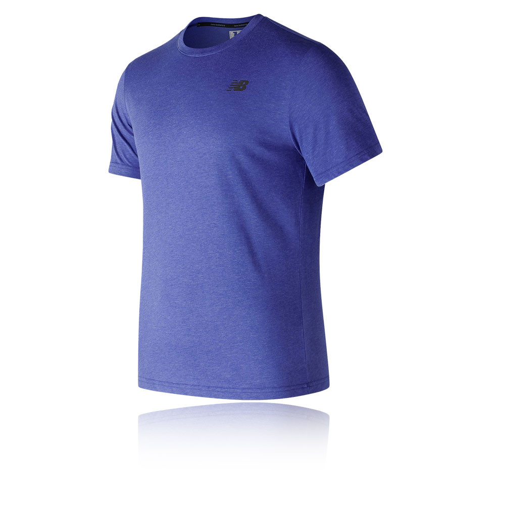 919fe869 Details about New Balance Mens Heather Tech Short Sleeve T Shirt Tee Top  Blue Sports Gym