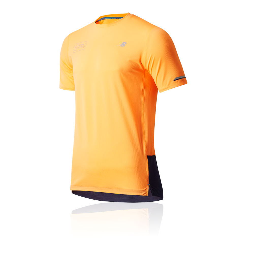 diseño unico incomparable código promocional Detalles de New Balance Hombre London Ice 2.0 Correr Camiseta T-shirt Top  Naranja Deporte