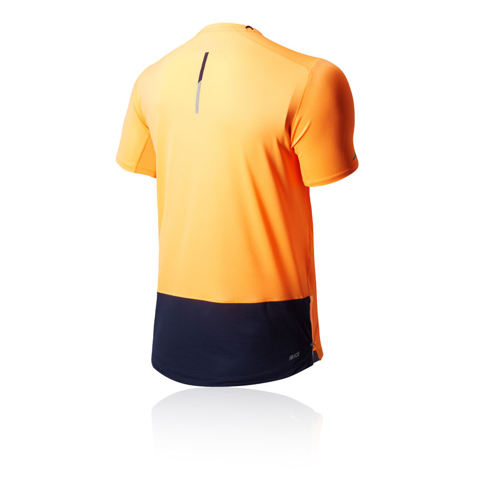 0ca014a0a07f2 New Balance Mens London Ice 2.0 Running T Shirt Tee Top Orange Sports  Breathable