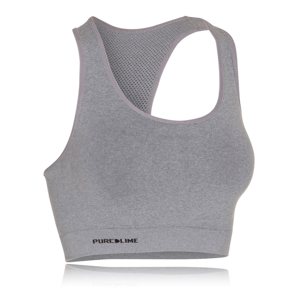 e62c7ba3f15eb Pure Lime Womens Grey Seamless Running Training Gym Sports Bra Support Top