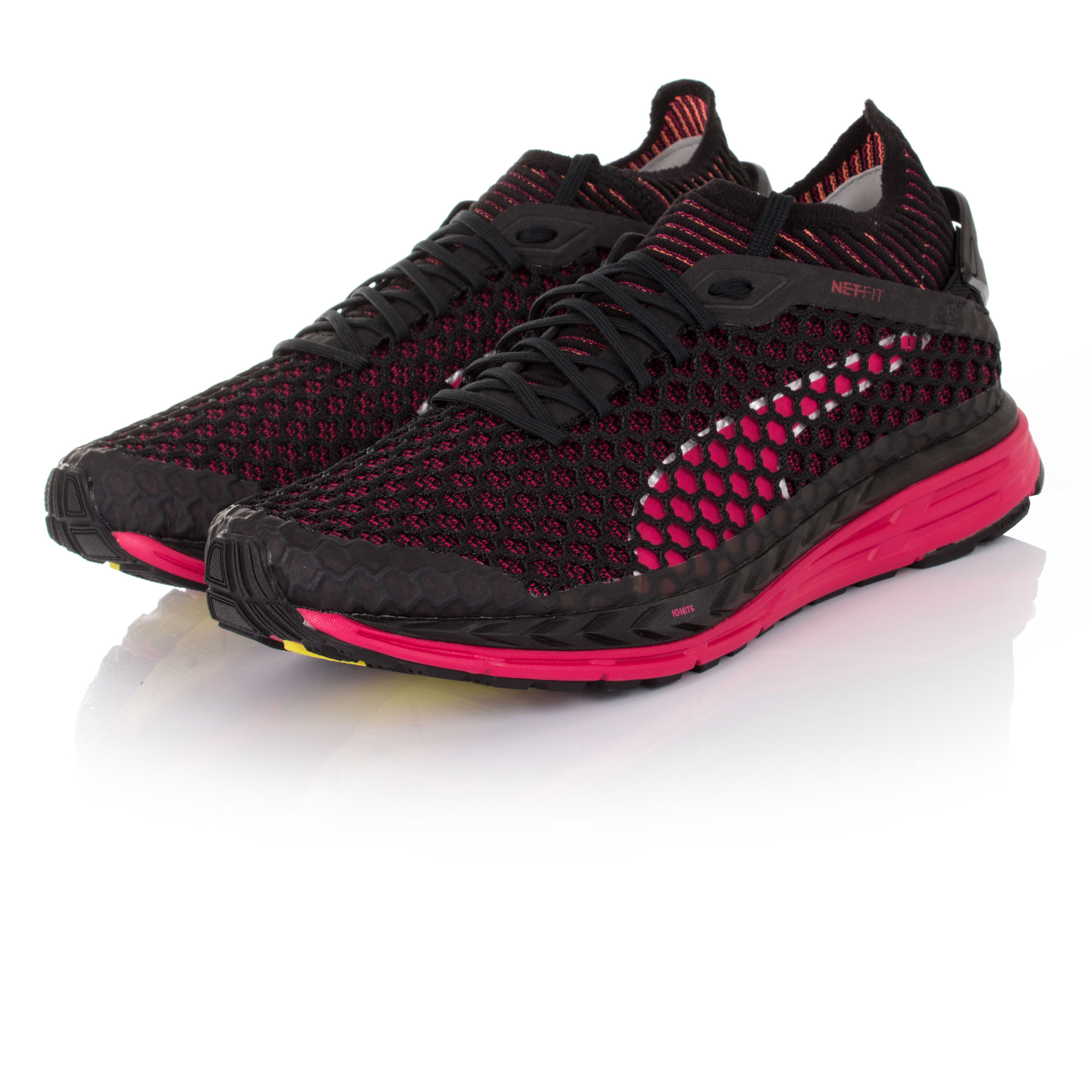 52f376dfdf3 PUMA SPEED IGNITE Netfit Womens Pink Black Running Sports Shoes Trainers