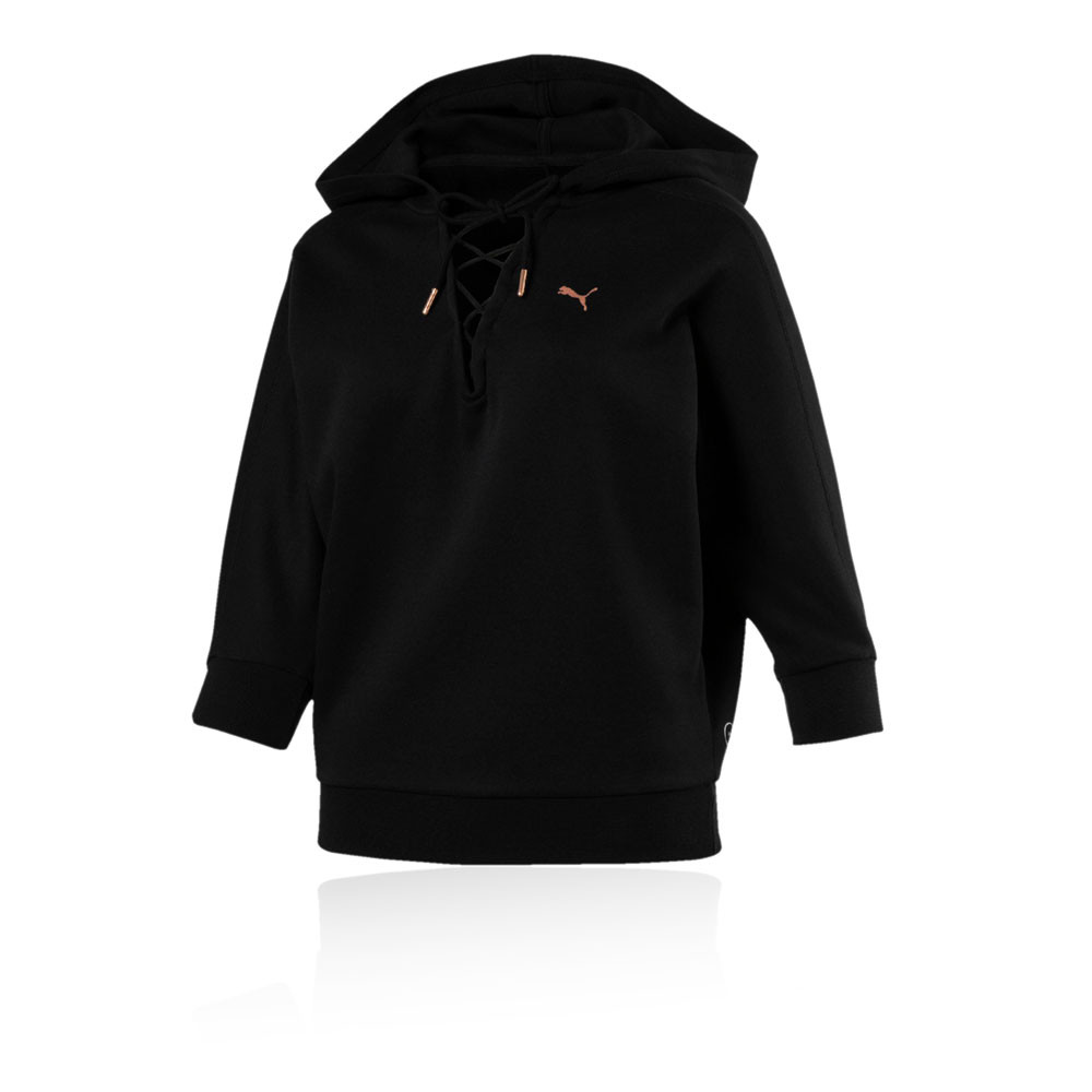 puma yogini cropped hoodie in black