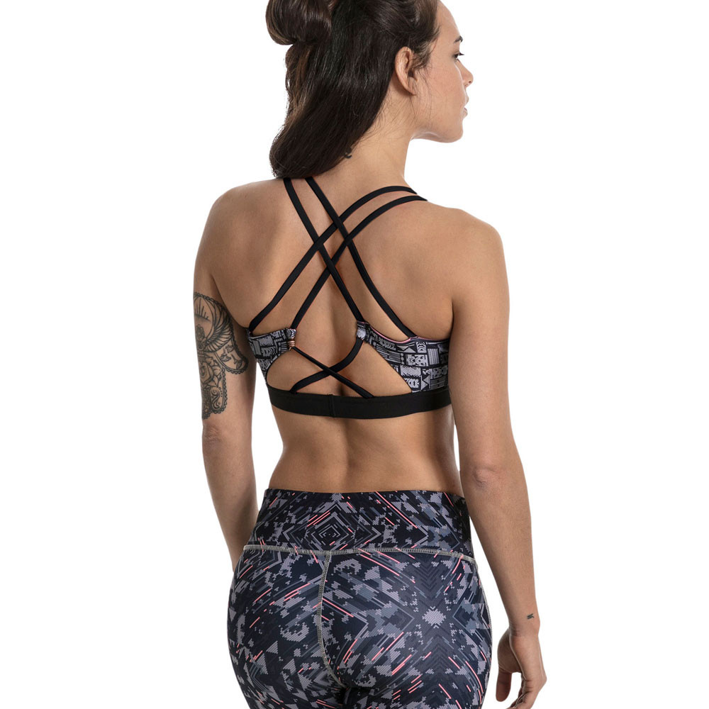 f1ca54b86c4c2 Puma Womens Yogini Lux Strappy Graphic Bra Black Blue White Sports ...