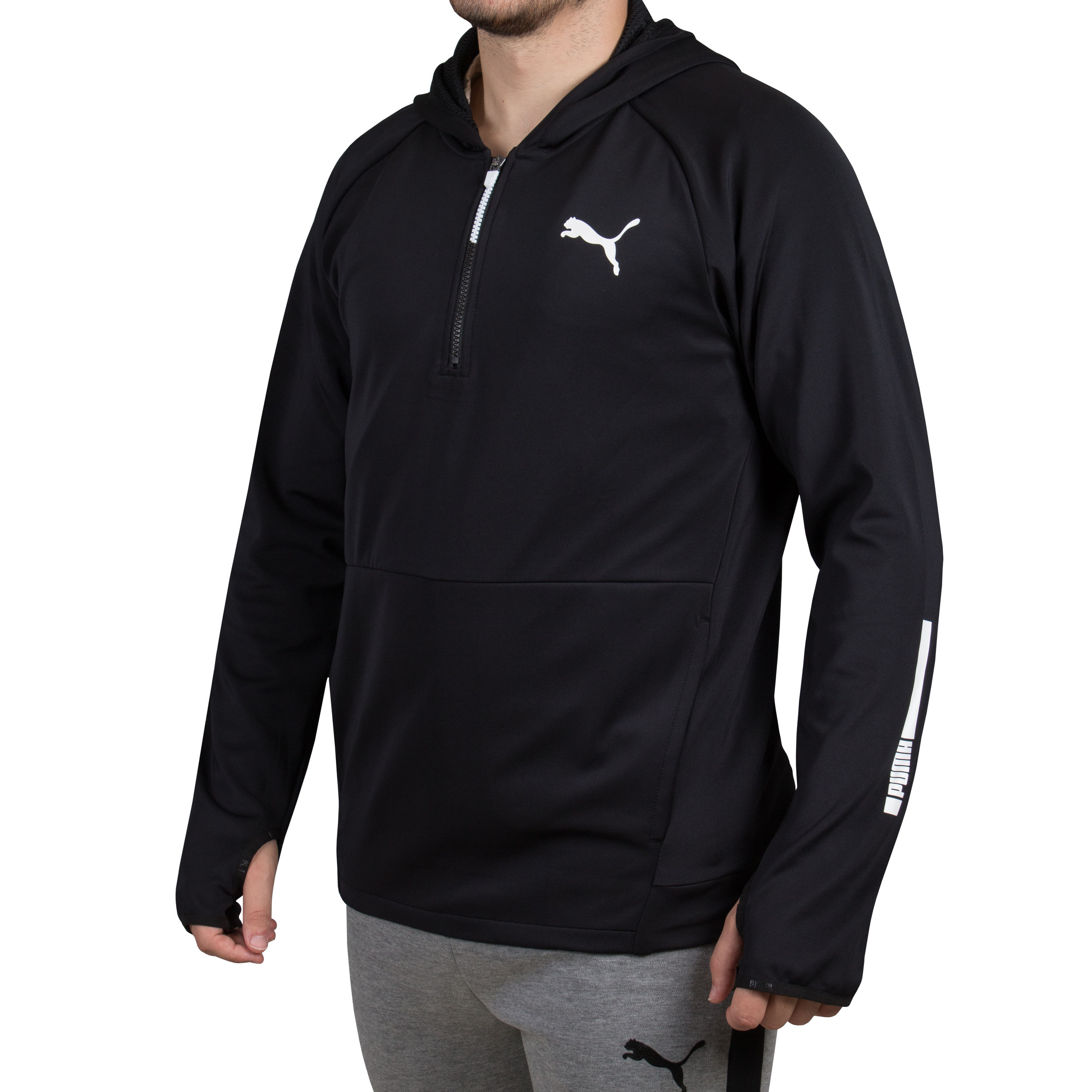 Details about Puma Mens Tec Sports 12 Zip Hoody Black Outdoors Running Breathable Lightweight