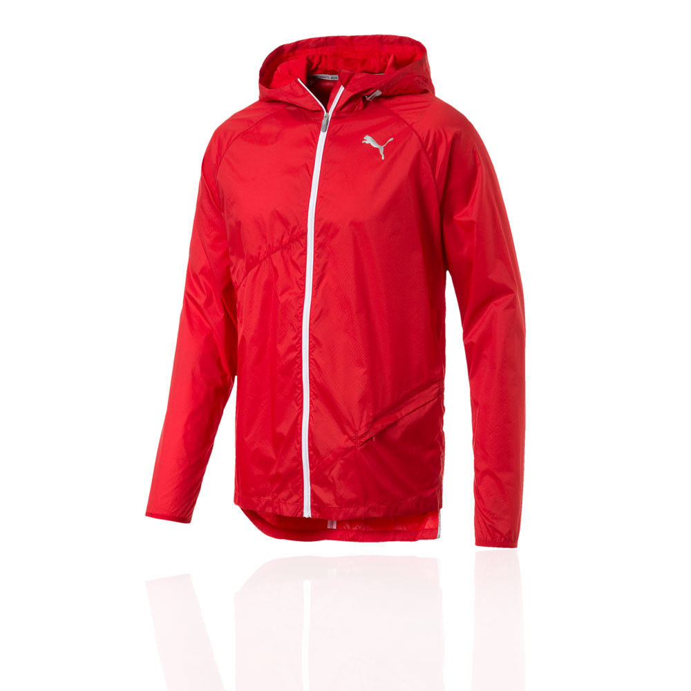 Details about Puma Mens Lightweight Hooded Jacket Top Red Sports Running Full Zip Windproof