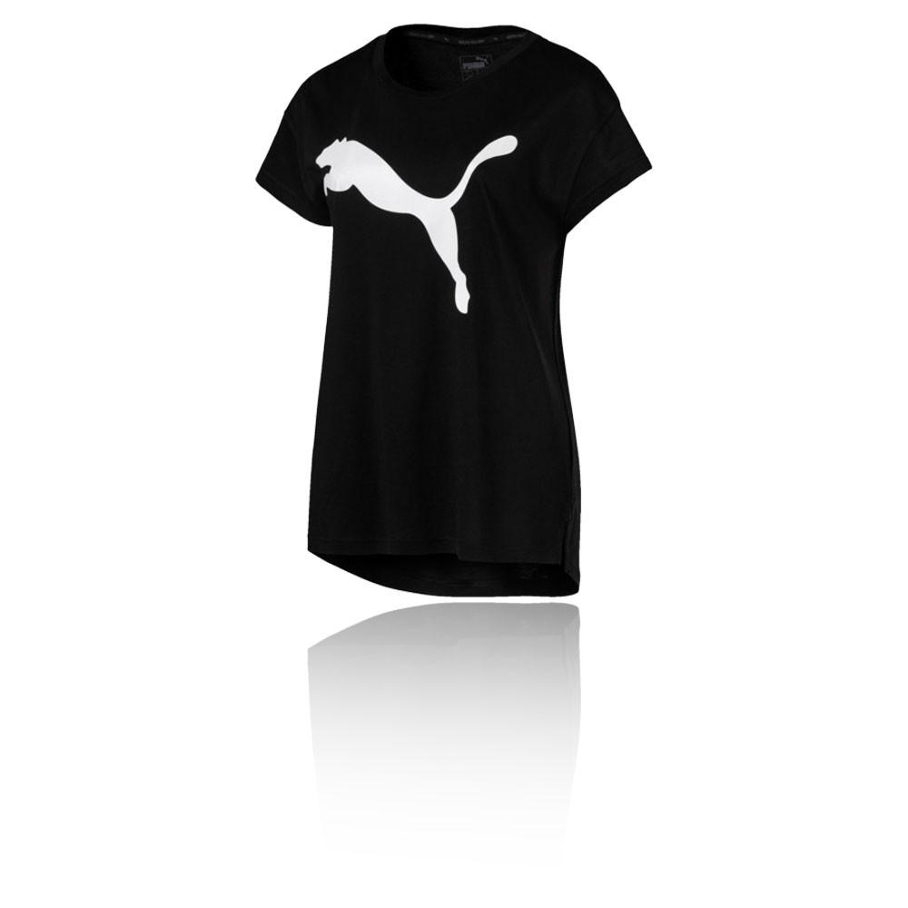 39308f8ee7 Puma Femme Active Logo Tee Haut T-Shirt Noir Sport Respirant Léger Manche  Courte